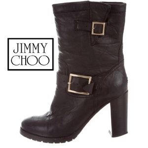 Authentic Jimmy Choo Dart Leather Biker Boots